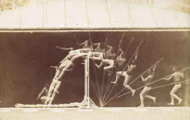 Chronophotographic study of man pole vaulting