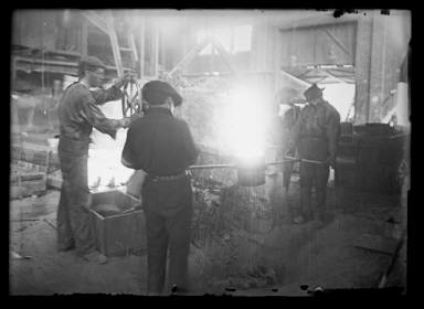 Pouring Steel Old Fashioned Way, Small Pgh Mill 1908-9