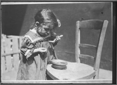 Refugee Paris/French War Orphan Eating Soup Given American Relief
