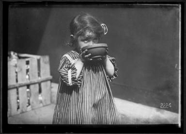 Paris 1918 Little Refugee with Bowl of Milk