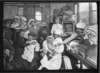 Red Cross Group in Sewing Room