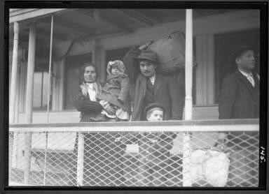 Italian Family-1905 Looking At Promised Land From Boat