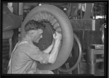 Rubber Making Tires for Autos/ Tire Workers Penn. Rubber co.