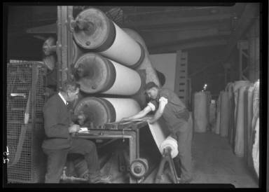 Making Fabric For Auto Tires Checking Up On Output/ PA Rubber Co