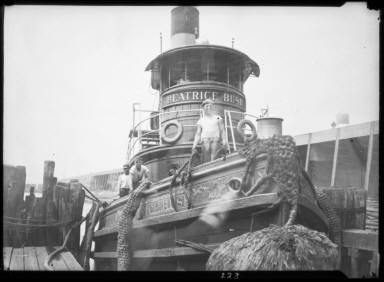 Tug- Boat Bow View with Tug Boat Workers NY