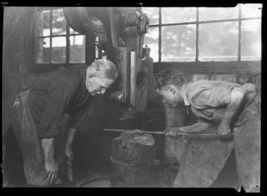 Young Boy Apprentice, Metal Work with Foreman