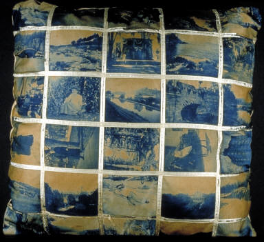 Pillow made up of 30 cyanotype images on cloth sewn together