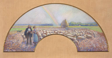 Shepherds in the Fields with Rainbow