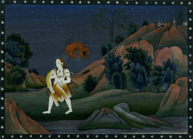Siva Carrying Sati on his Trident
