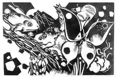[Frosche und Schmetterling, Das Kunstblatt, Deluxe edition, 1, no. 8 (1917), endpiece, Frogs and butterfly]