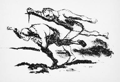 [12, no. 1 (1913), page 7 (top), (man chasing another with a knife), Kunst und Künstler, Untitled]