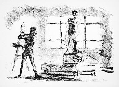 [12, no. 1 (1913), page 7 (bottom), (sculptor in Studio), Kunst und Künstler, Untitled]