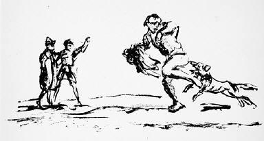 [12, no. 1 (1913), page 8 (top), Kunst und Künstler, (dog biting man), Untitled]