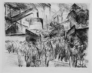 [plate 10, Industrie, (workers leaving), Industry, Untitled]
