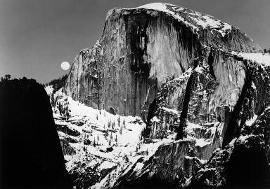 Half Dome and Moon, Yosemite Valley, CA