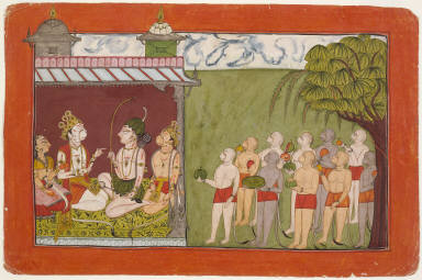 Folio from a Ramayana: Lakshmana Meets with Tara, Sugriva, and Hanuman in the Palace of Kishkandha