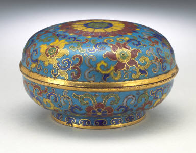 Seal Paste Box (Yinnihe) with Lotus Blossoms and Floral Scrolls
