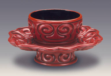 Cup Stand (Tuozhan) in the Form of a Lotus Blossom with Sword-Pommel Pattern