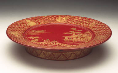 Footed Tray with Figures in a Landscape and Symbols of Seven Immortals