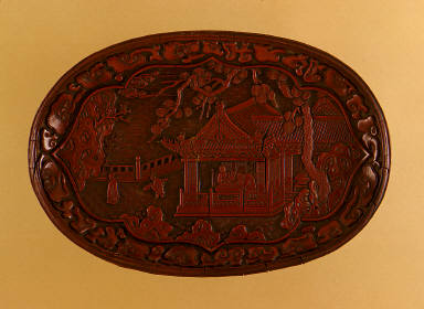 Tray (Pan) with a Pavilion in a Garden