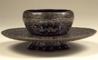 Cup Stand (Tuozhan) with Cartouches Showing Figures in Landscapes, Birds, and Flowers