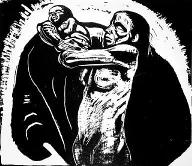 [The sacrifice, Seven woodcuts on the war, Sieben Holzlschnitte zum Krieg, plate 1, Das Opfer]