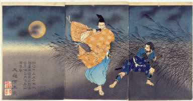 Fujiwara no Yasumasa Playing the Flute by Moonlight