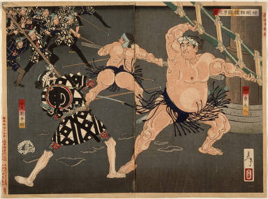 [Yotsuguruma Daihachi and Kotengu Heisuke Duel during the Battle of the Wrestlers and the Firemen at Shimmei Shrine, A Selection of Western Color Prints]