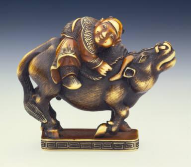 Chinese Boy and Water Buffalo