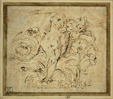 Nude Figure among Foliage Holding a Globe, and Two Putti
