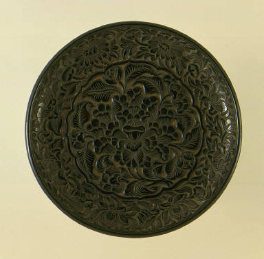 Dish (Pan) with Peony Medallion and Floral Border