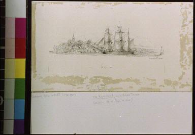 Sailing schooner in harbor