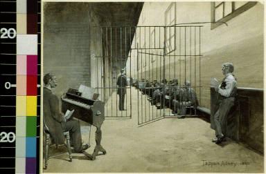 Prison cell block, man playing organ, prisoners sitting on bench behind gate