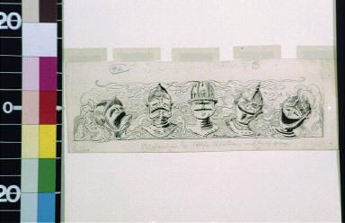 Five knights' helmets, unhappy to happy