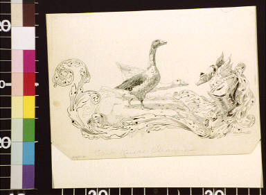 Two geese and acanthus decoration