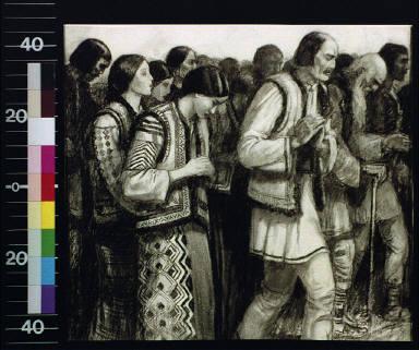 Group of peasants in Slav costume, praying