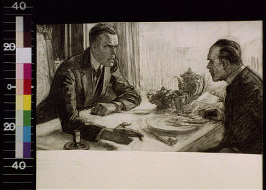 Two men talking across breakfast table