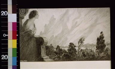 Woman leaning on stone pedestal looking at shadows in the sky