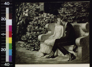 Man and woman on garden bench