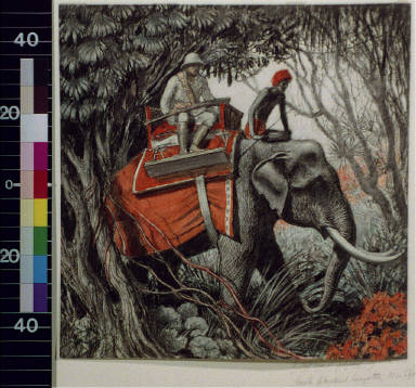 Hunter and native on elephant in jungle