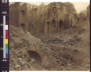 Ruins of the Cour des Comptes where the new railroad station will be erected