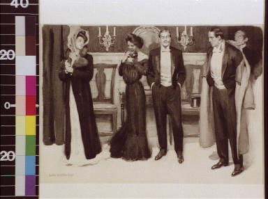 Two couples in evening dress, one man being helped with his coat