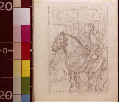 Joan of Arc on horseback with soldiers