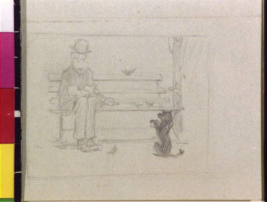 Old man on park bench and begging dog