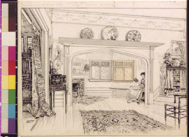 Drawing room and glimpse of hall, the Cedars