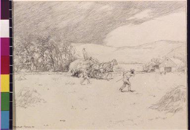 Hay wagon and farmers returning to barn