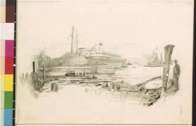 Ocean liner in port