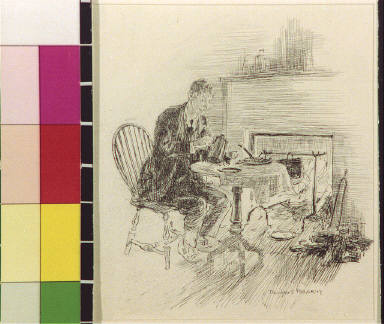 Man pouring tea by fireplace