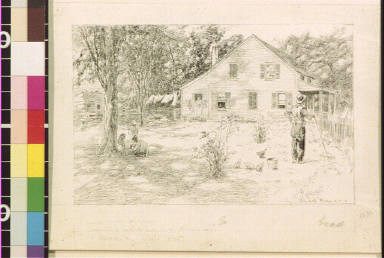 House with clothesline and farmer leaning on rake