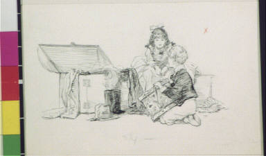 Boy with drum and seated girl by open trunk
